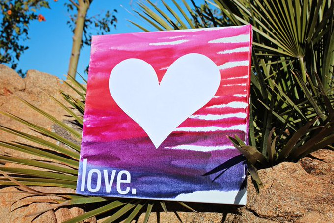 DIY Melted Crayon 'Love' Art