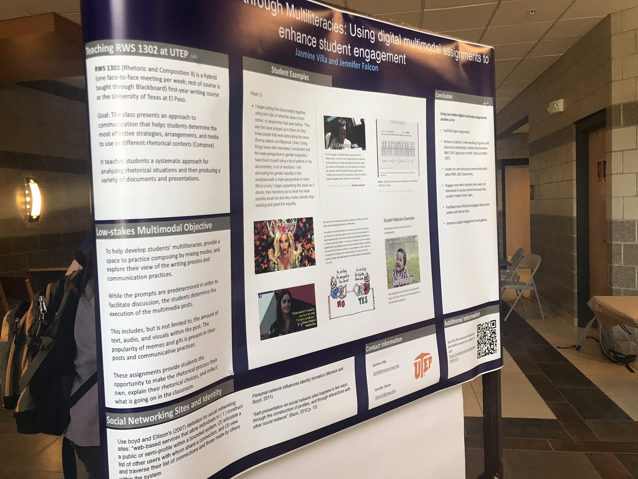 #Cwcon poster presentation with @lastnameFalcon on using digital multimodal assignments to enhance student engagement. #Tumblr @UTEP_RWS https://t.co/jr39v0nm60
