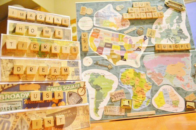 DIY Mod Podge Memory Boxes & Travel Memory Map Project
