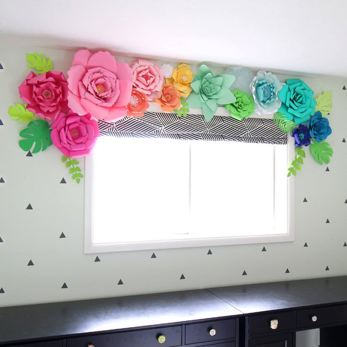3D Paper Flower Window Treatment