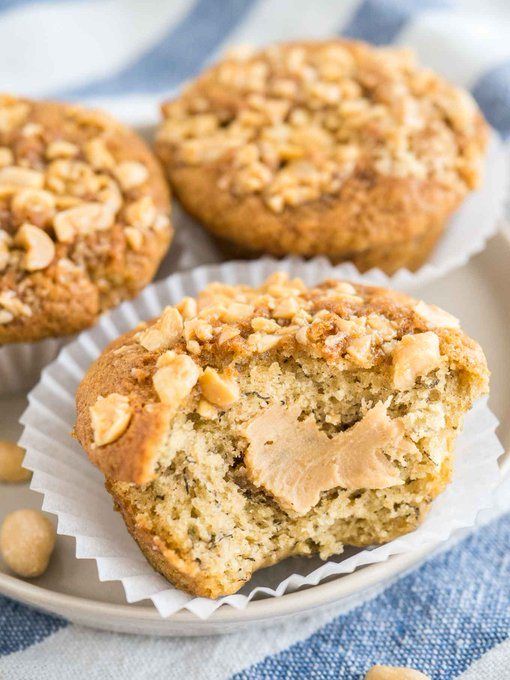 Peanut Butter Banana Muffins {Banana Muffins filled with Peanut Butter}