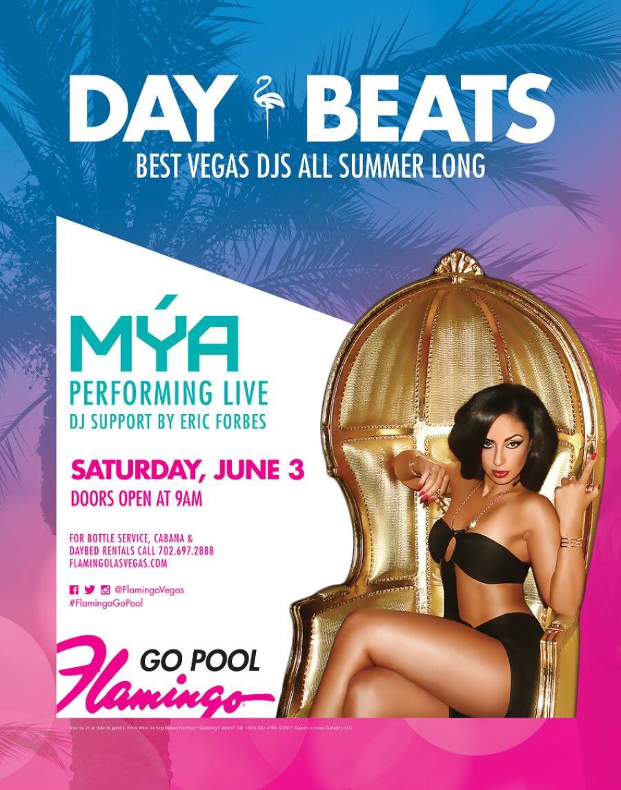 Catch me today #GOPool @FlamingoVegas w/ @MYAPLANET9 performing today !