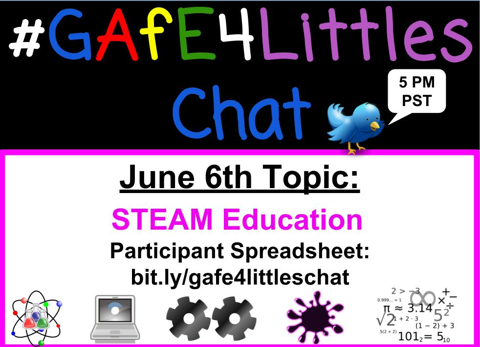 #gafe4littles chat in ONE HOUR 5 PM PST. Don't miss the discussion about STEAM Education. Co-modding with @ariellehg https://t.co/Yh2qbFCdvc https://t.co/R2X12UUpNO