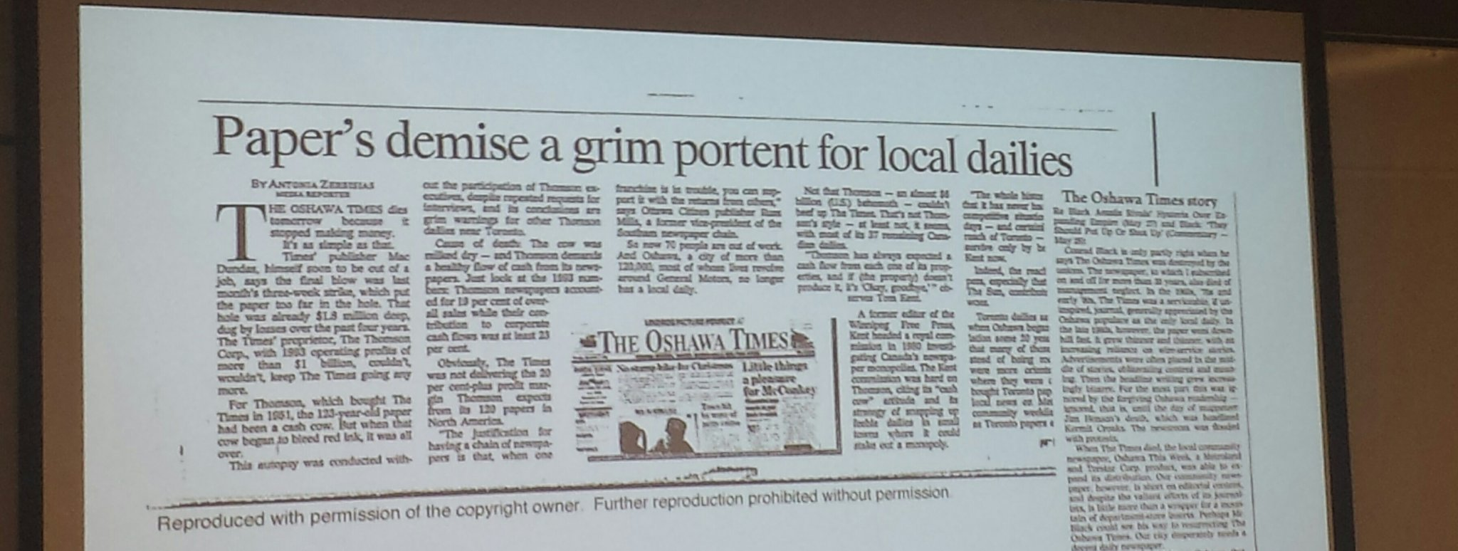 Last panel of the day. @pd_rowe is talking about the closure of the Oshawa Times in 1994. Here is an evergreen headline #localnews17 https://t.co/wl6ytTmt8L