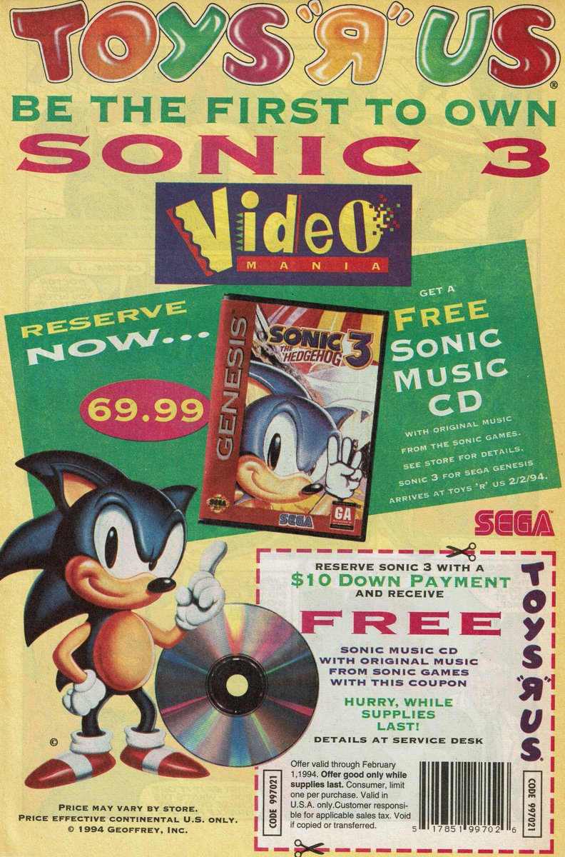 Videogameart Tidbits On Twitter Toys R Us Sonic The Hedgehog 3 Pre Order Soundtrack Promotion 1994