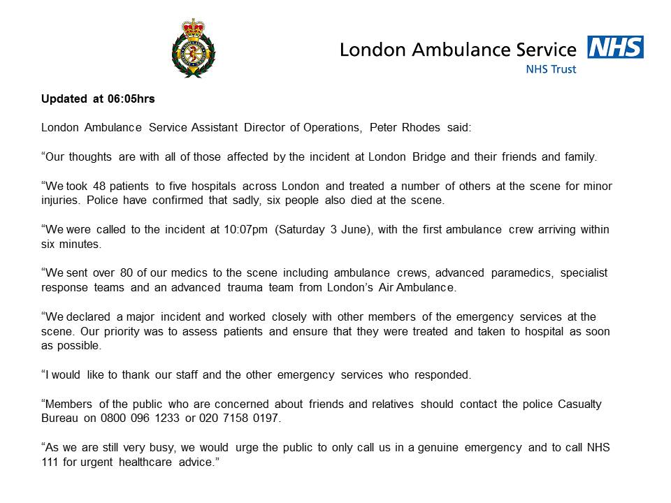 We have taken 48 patients to hospital following the incident at #LondonBridge https://t.co/hCiKVCBrnb https://t.co/5ipl5vtcTB