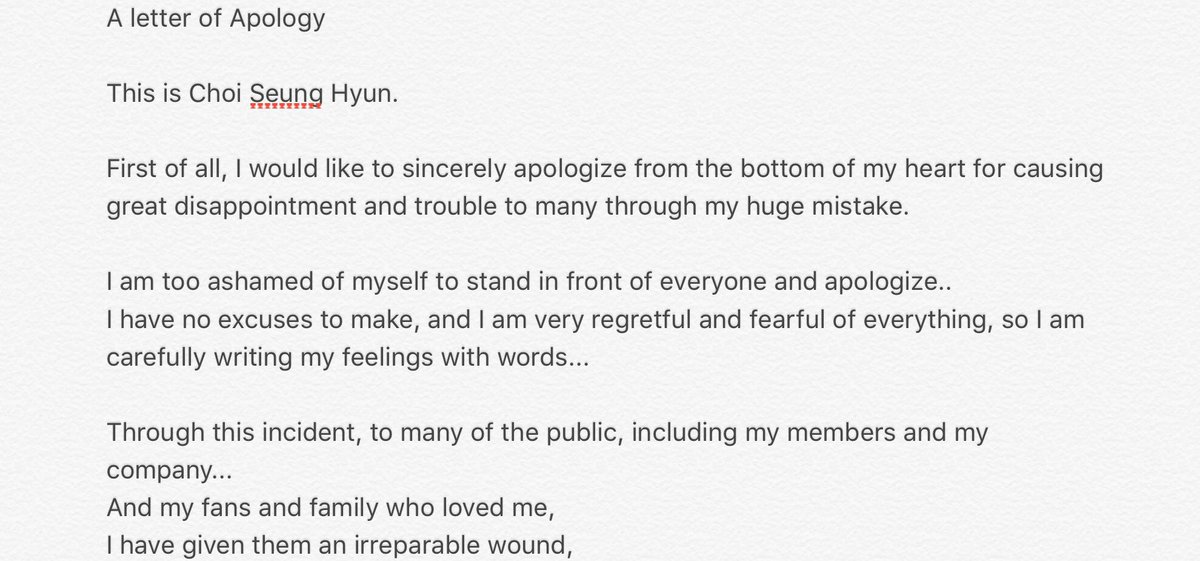 TOPs Apology Letter Page 2 Celebrity News Gossip OneHallyu – Apology Letter for Mistake