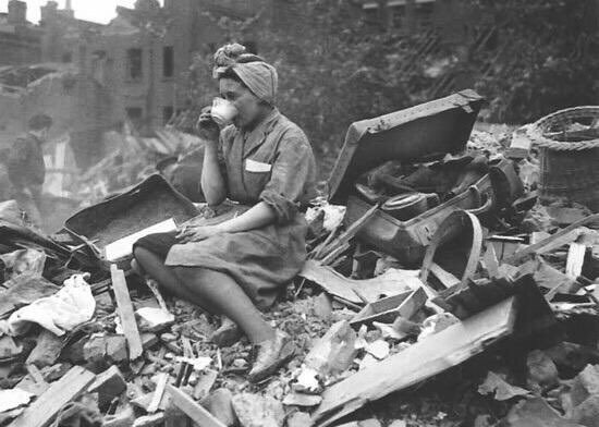 British woman having tea after a Nazi bombing. Hey terrorists, go to hell. You'll never win. #londonbridge https://t.co/ffVWcyhYX4