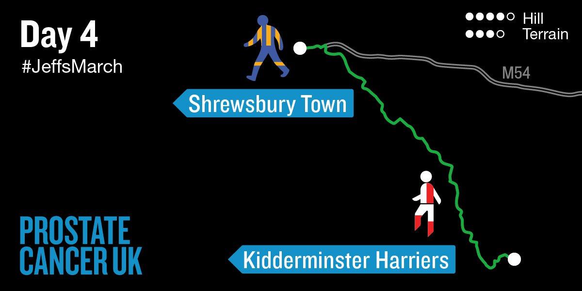 #JeffsMarch Day 4⃣: @khfcofficial ➡ @shrewsweb, 26 walking miles + ☁  Live tracker: https://t.co/83tp1D1i4g https://t.co/g8NInisLEi