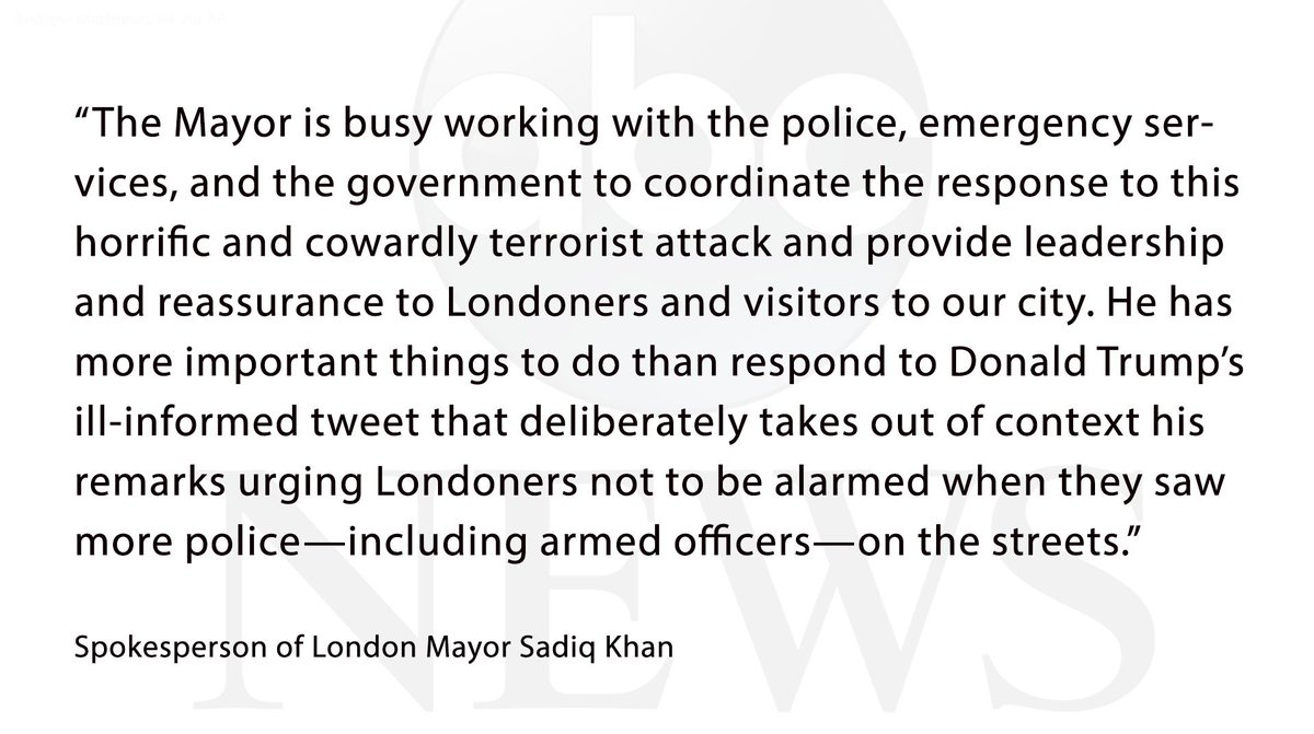 NEW: Spokesperson for London Mayor Sadiq Khan says 'he has more important things to do than respond to Donald Trump's ill-informed tweet.'