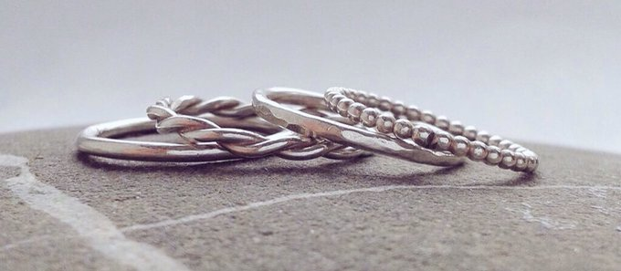 Sterling silver stacking ring or midi ring. Free UK postage
