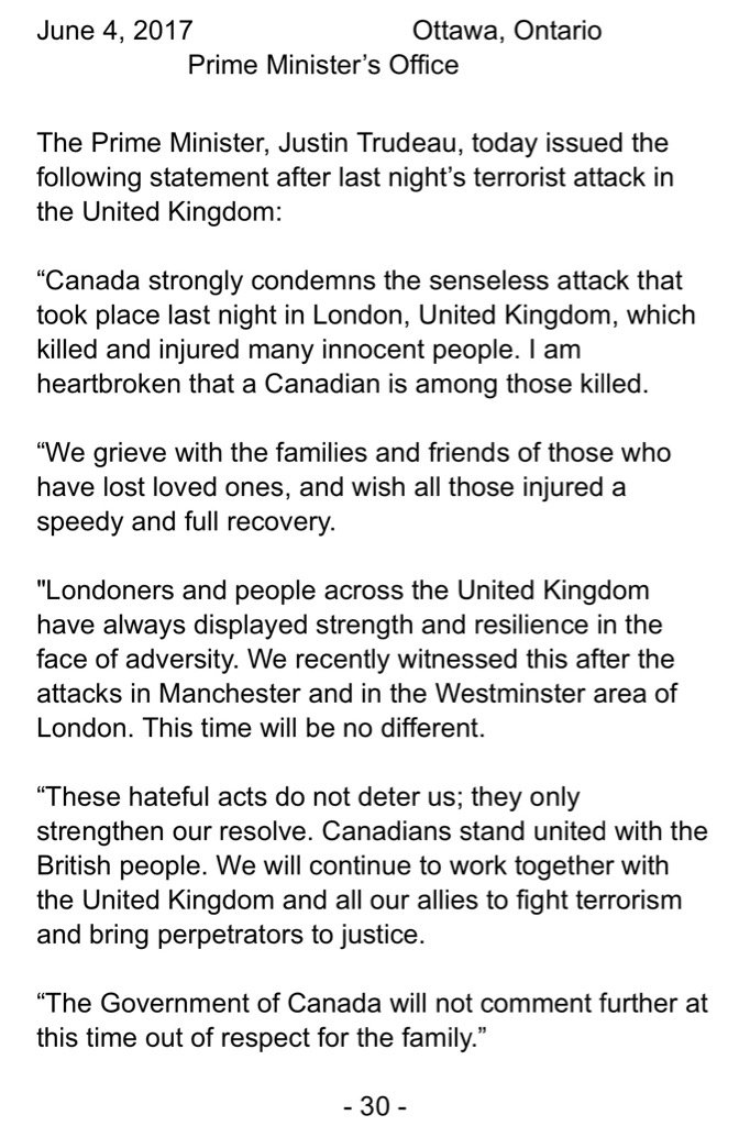 PM @JustinTrudeau confirms that a Canadian was killed in London attacks. https://t.co/zLuYj73TCv