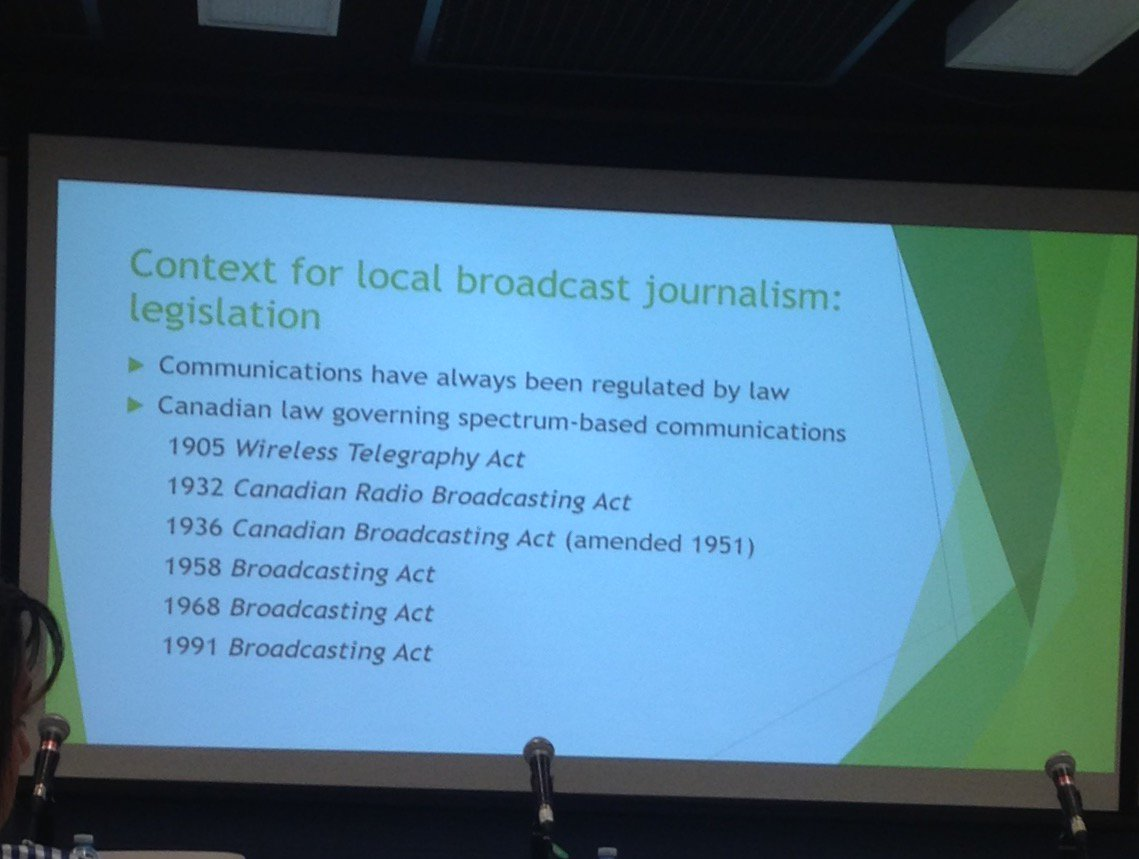 Some background on Canadian Broadcasting law. Little diversity on CRTC, all appointed #LocalNews17 https://t.co/Zhnxw7lFE8