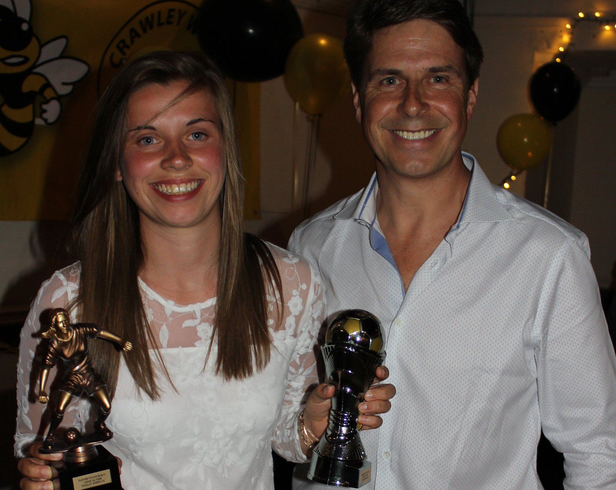 Holly Walker, Crawley Wasps' players' player and manager's player of the season 2016/17, with her managear and father, Paul Walker (Photo: Karen Beckett)