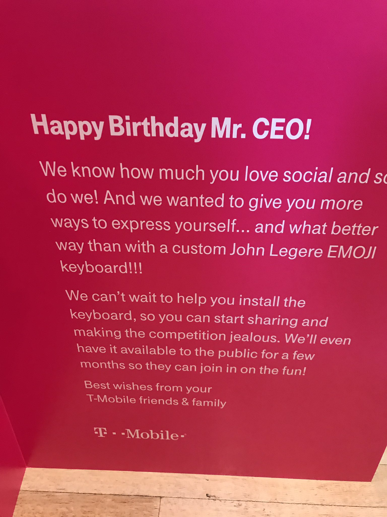 John Legere On Twitter Well This BirthdayCard Fromtmobile Suggests That Not Only Am Aid Going To Get A LegereEmoji Keyboard Its Be Available