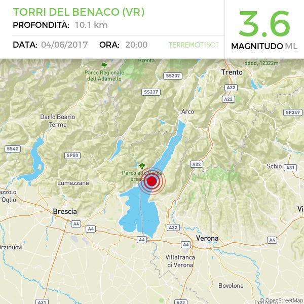 """""""Forte boato, tutti in strada"""": Terremoto Lago di Garda, M3,6 secondo INGV"""