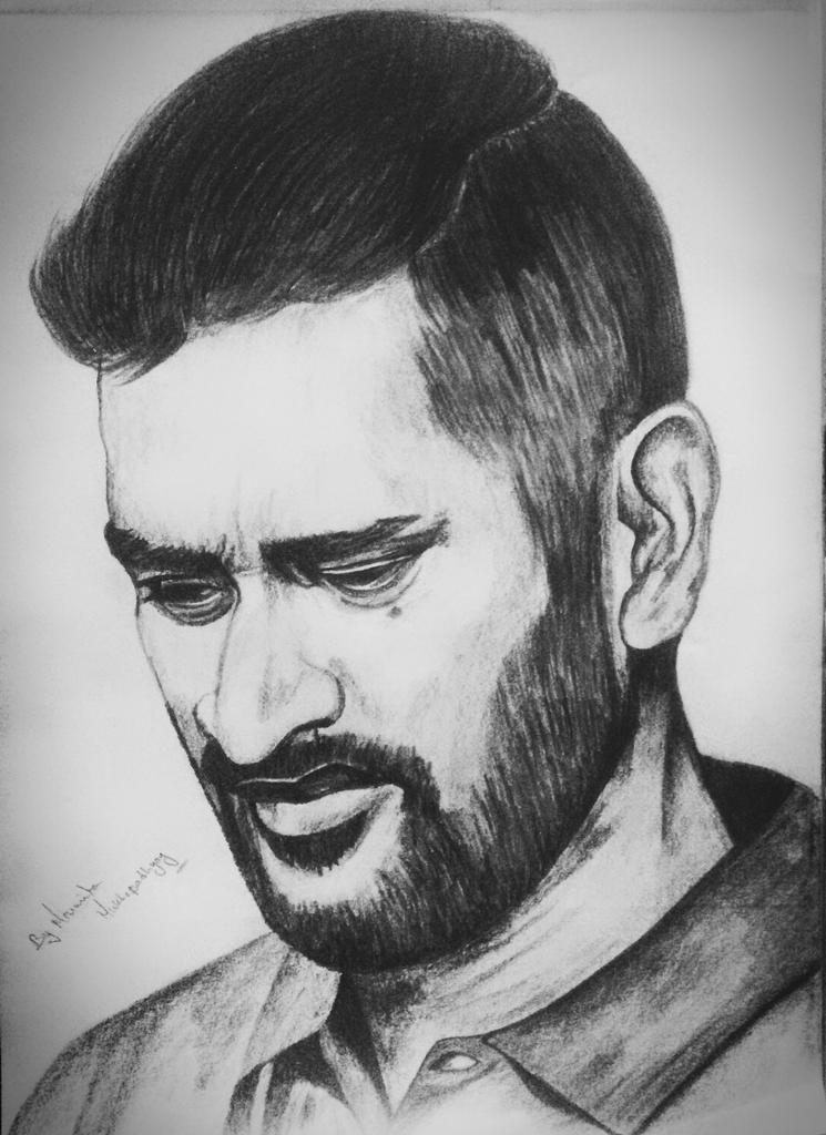 Moumita Mukhopadhyay On Twitter U0026quot;Sketch Of My Febret Cricket Player Mahendra Singh Dhoni Made ...