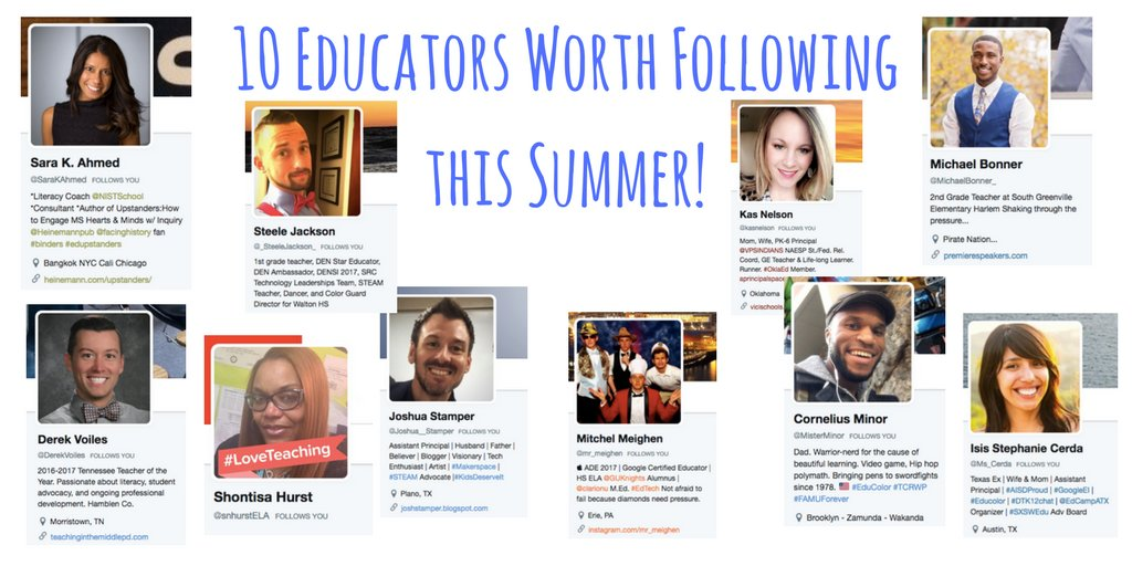 """10 Educators Worth Following this Summer"" https://t.co/KPLbR7nuck #TLAP #sunchat #txed #Txeduchat https://t.co/U7Tv3hdMib"