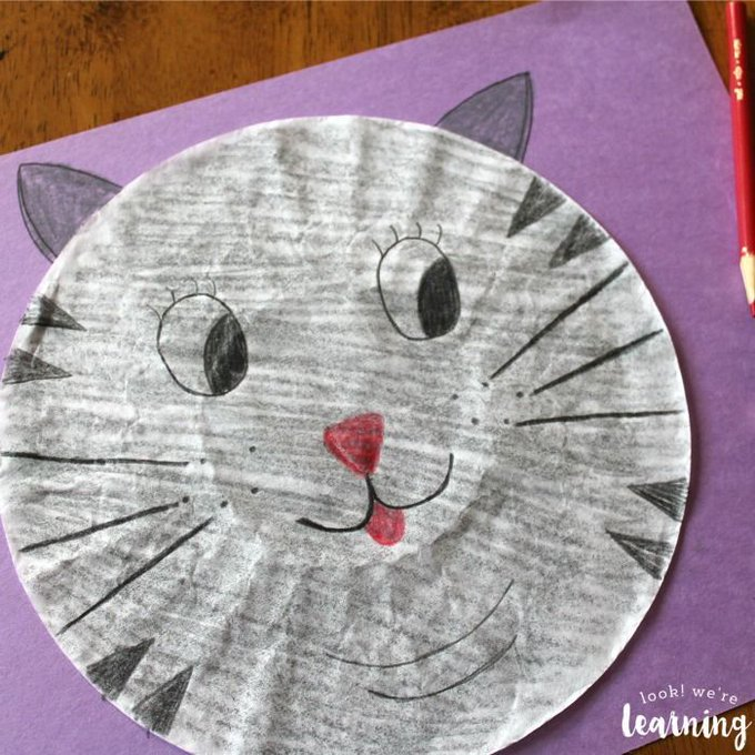 Coffee Filter Crafts for Kids: Coffee Filter Cat Craft