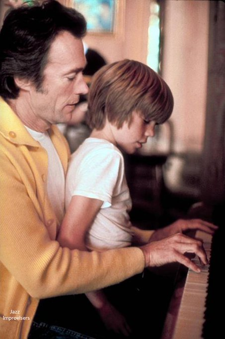 Happy 87th Birthday Clint Eastwood! .* *. *¨   Actor Clint Eastwood playing piano while son Kyle Eastwood sits ...