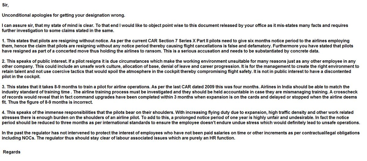 Tarun Shukla on Twitter Pilot responds to the letter pilots