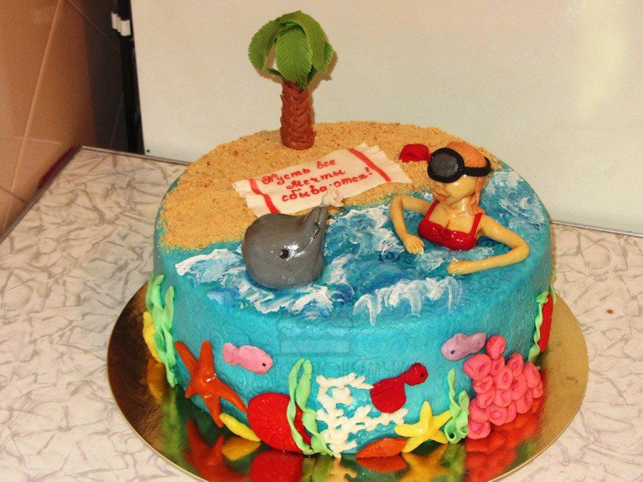летней поездке торт с морем и пляжем фото магазин