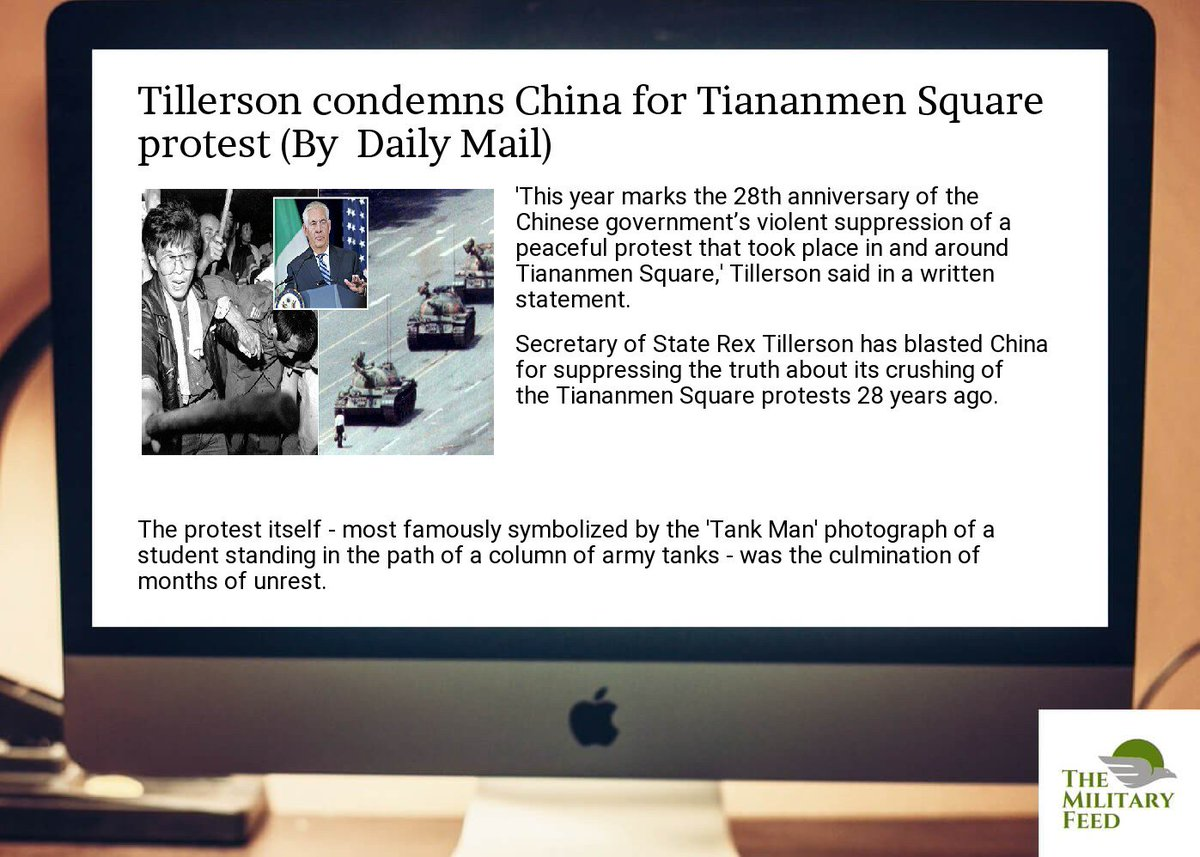http:// goo.gl/Ggu1EN  &nbsp;   for #Defense #News ;  #tillerson condemns  #china for  #tiananmen  #square  #protest <br>http://pic.twitter.com/6604CGhuss