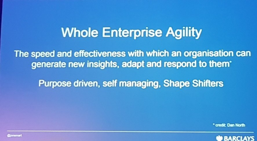Whole enterprise agility - generate insights, respond, self managing #DOES17 https://t.co/wbRG1TFPdK