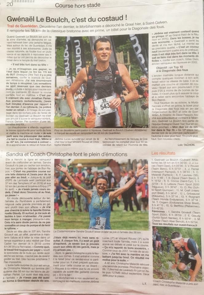 Bel article @sports_ouest pour Guerledan. Gwénaël Le Boulch : un nouveau roi du #trail #Bretagne et une nouvelle reine pleins de Talent !