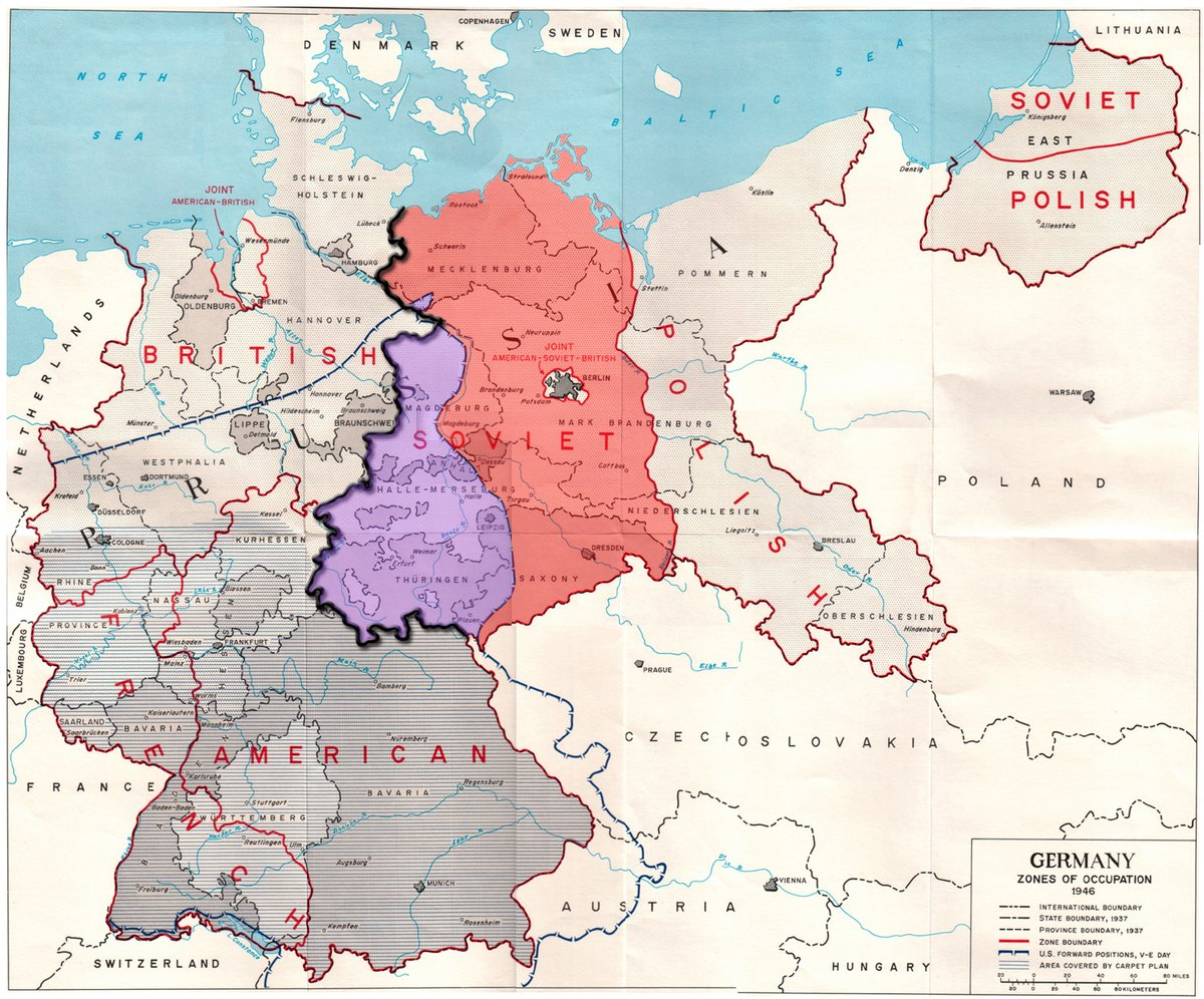 an analysis of the 4 zones of occupation in the conclusion of the wwii germany The allied powers who defeated nazi germany in world war ii divided the country west of the oder-neisse line into four occupation zones for administrative purposes during the period 1945-1949.