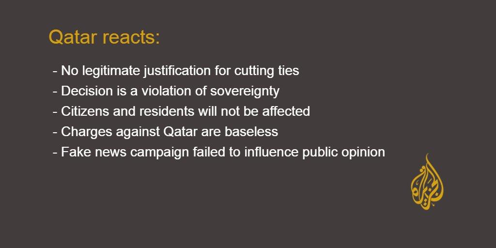 #Qatar reacts to Saudi Arabia, UAE, Egypt, Bahrain, and Yemen cutting diplomatic ties https://t.co/uEnbRT1Cth