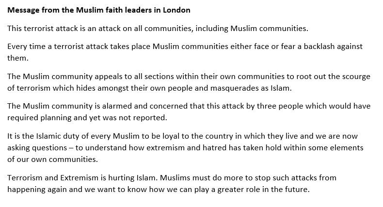 On behalf of the Muslim faith leaders in #London @CdrChishtyMPS delivered this statement outside New Scotland Yard following #LondonAttacksAttacks