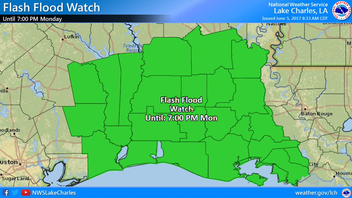 NWS Lake Charles on Twitter A Flash Flood Watch remains in