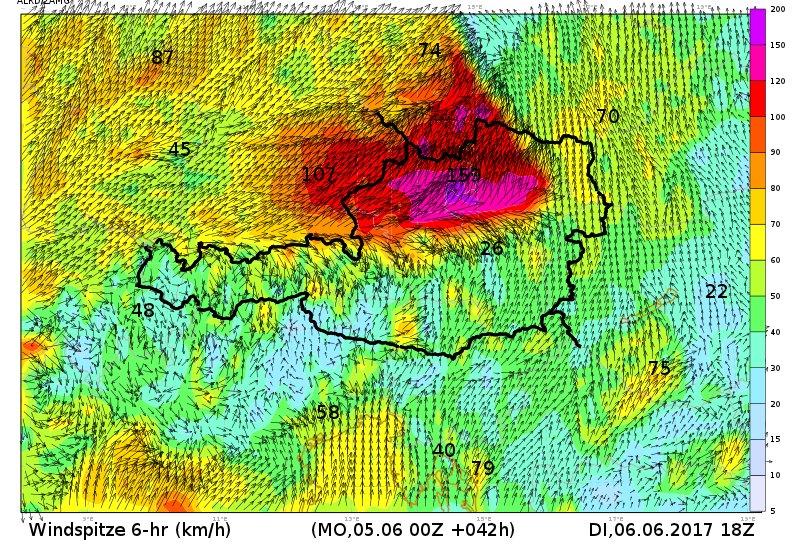 Modelle rechnen morgen Nachmittag/Abend mit (fast) unglaublichen Sturmböen....! #Sturm https://t.co/zYdmsin2yy