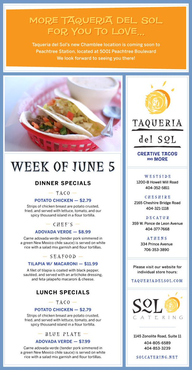 Taqueria Del Sol On Twitter Specials This Week Potato Chicken Taco Chef S Adovada Verde And Tilapia With Macaroni Tdsspecials