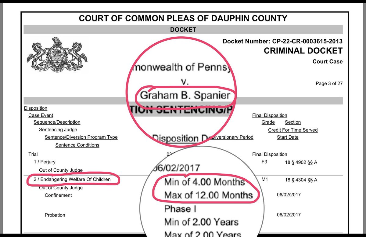 Four men sentenced for EWOC in 2001 PSU incident: Curley: 7-23 mo Schultz:  6-23 mo Spanier: 4-12 mo Sandusky: 3-6 mo https://t.co/QkLGQUMzlf