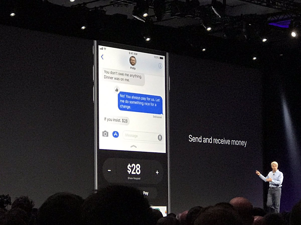 "Person-to-person Pay coming to Apple Pay. No more, ""Ill pay you back later."" #WWDC2017 https://t.co/wO1pnkfM4l"