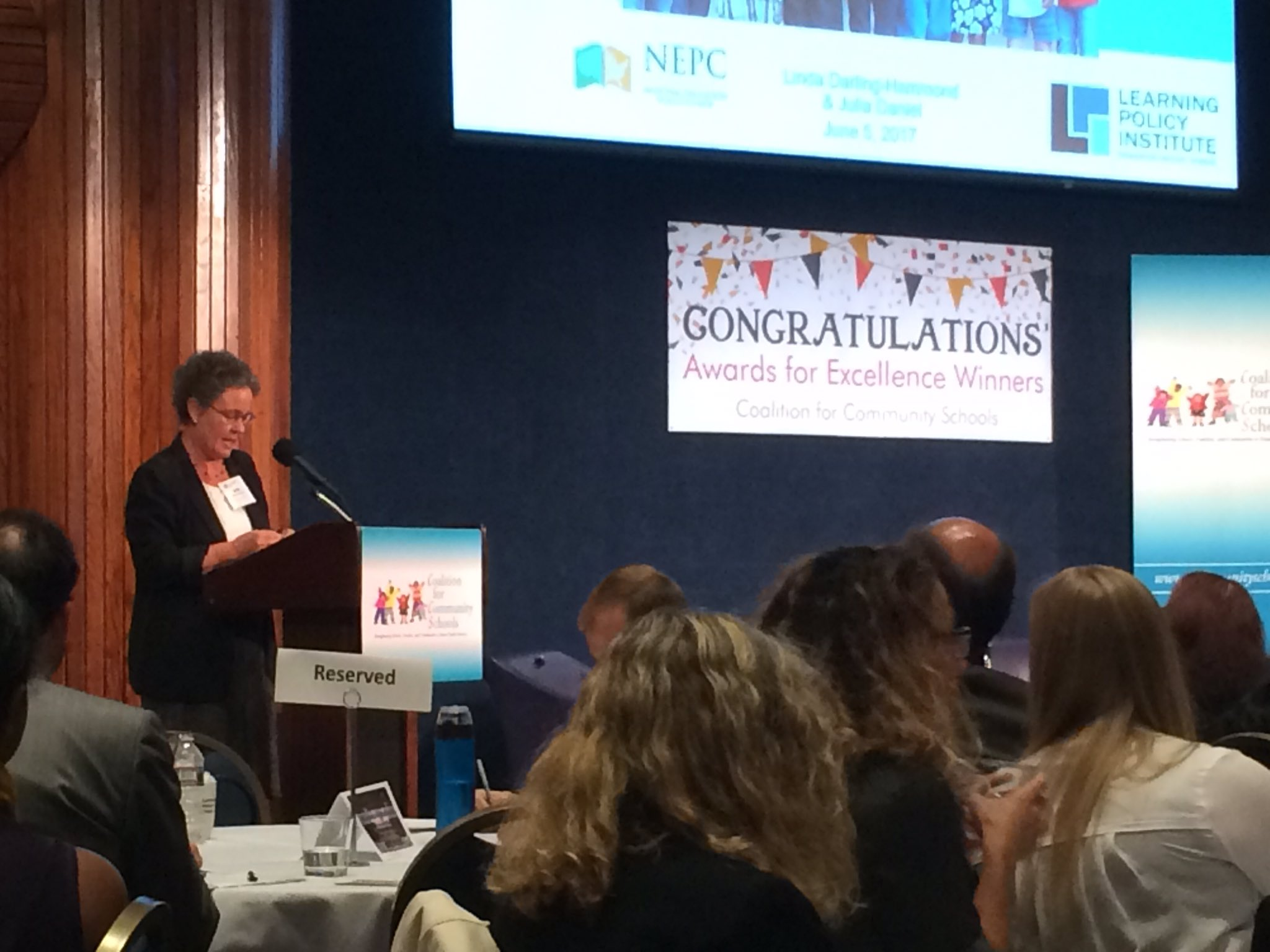 Dr. Linda Darling-Hammond, Learning Policy Institute, addresses the crowd at the #CommunitySchools Awards for Excellence Symposium. https://t.co/F6aJDmhv25
