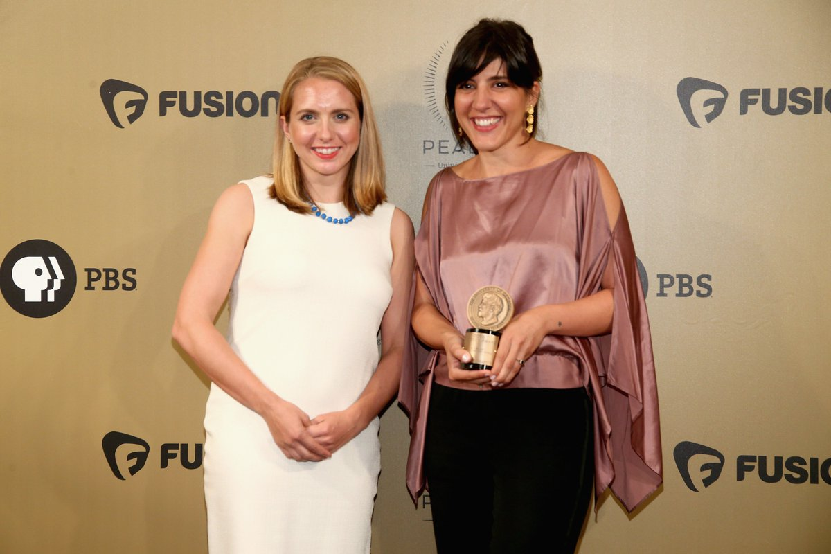"Alum Daphne Matziaraki ('16) and Lindsay Crouse of @nytimes Op-Docs celebrate ""4.1 Miles"" win at #PeabodyAwards! http://bit.ly/2s9wIoS pic.twitter.com/ ..."