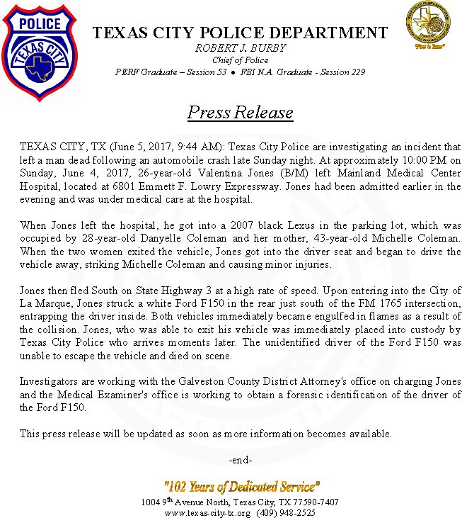 Texas City Pd On Twitter Press Release