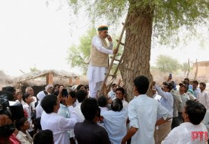 Union Minister @arjunrammeghwal climbs a tree at a remote village in #Rajasthan to catch signal on his mobile phone.