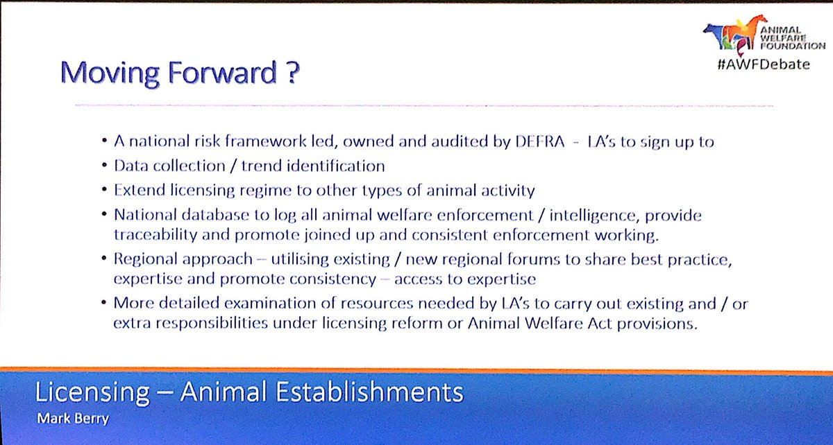 #AWFDebate questions if animal establishment licensing should be done by @APHAgovuk not local authorities. @BritishVets vets are essential<br>http://pic.twitter.com/TsJsqmiOY4