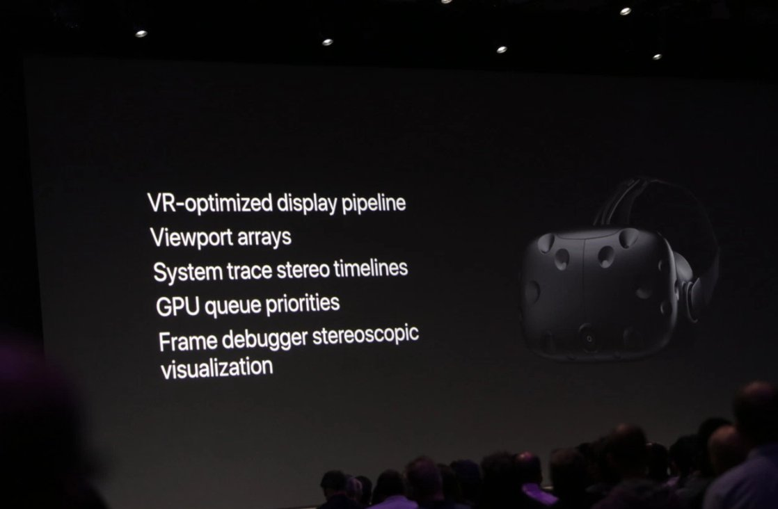 Apple is shipping Metal for VR with High Sierra. They're working with Steam, Unity, and Unreal to bring VR engines to the Mac #WWDC2017