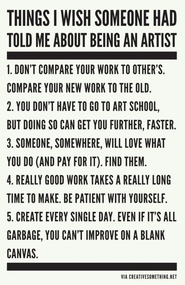 Things I wish someone had told me... #art #artist #journey #behappy #smile #laugh #create https://t.co/metPpjdTJ9
