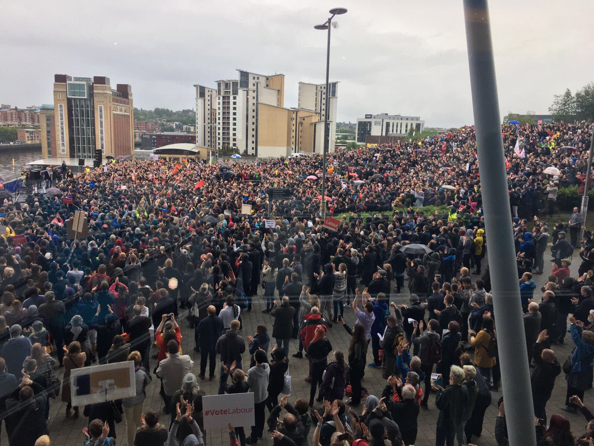 Incredible scenes in Gateshead tonight for Labour's campaign rally with @jeremycorbyn https://t.co/p9kat3YfJU