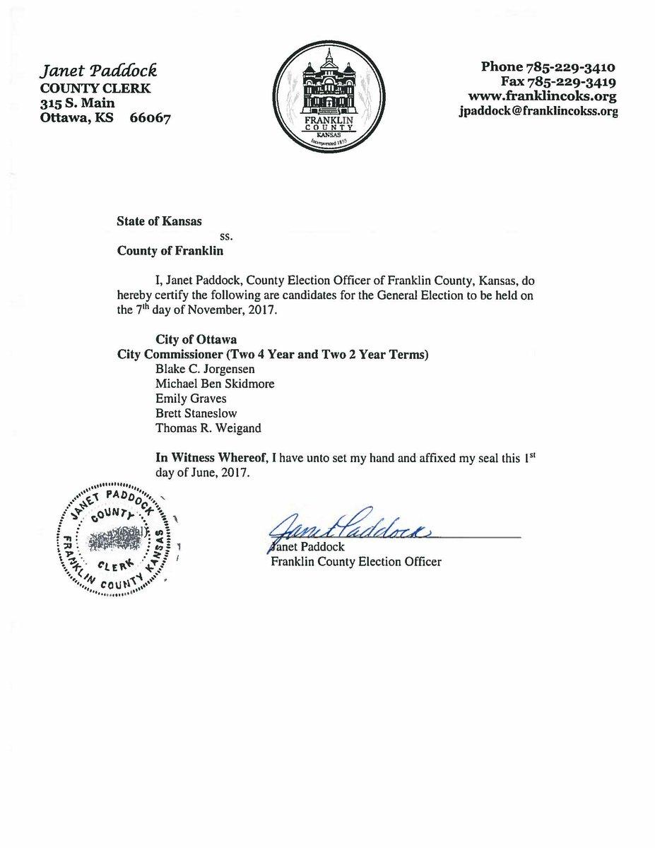 Cityofottawa On Twitter City Commission Candidate Certification