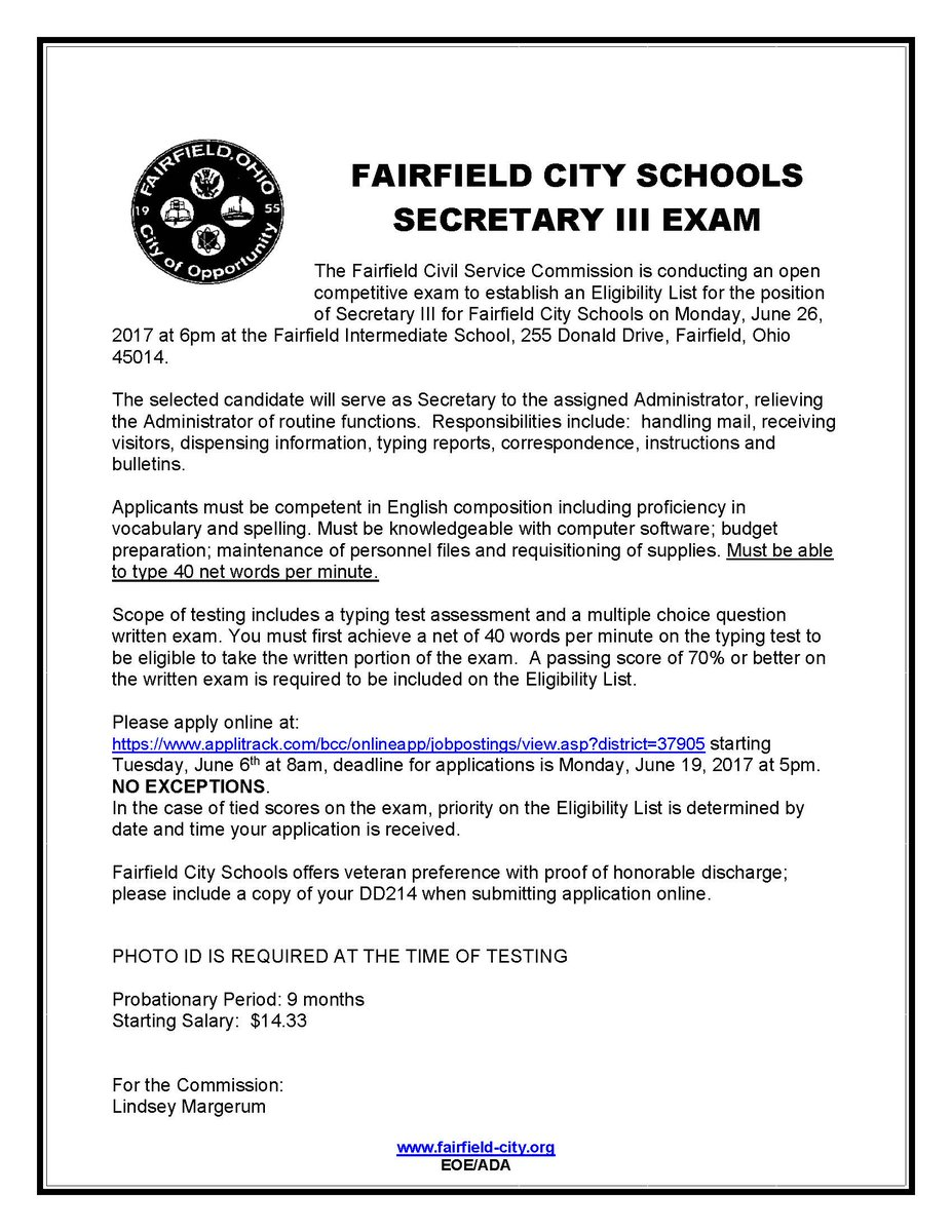 "Fairfield City Schools в Twitter: ""Upcoming Civil Service Exam! Great  opportunity to work as secretary in one of our schools! Exam is 6/26."