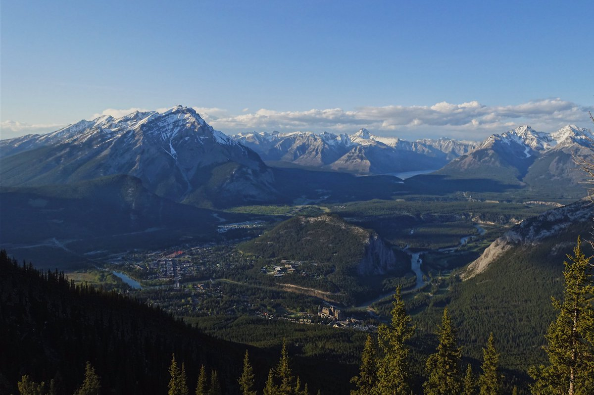 Tunnel Mountain surrounded by the town of Banff, Alberta