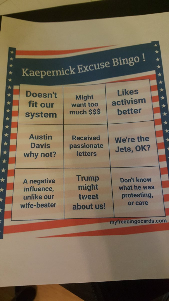 Here's that bingo card you requested, @mikefreemanNFL . https://t.co/SYIu1as66o