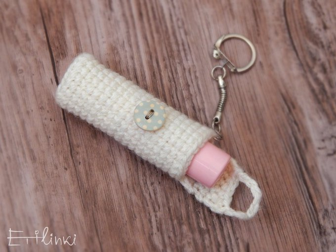 Lip balm keychain holder lipstick cozy bag cosy chapstick cover crochet key holder Elegant winter accessory Christmas gift for girlfriend